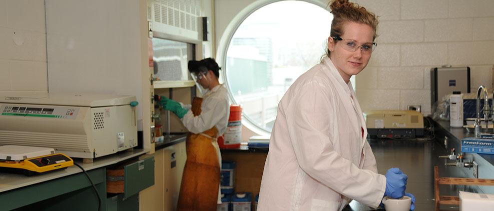 Grad students in paleo lab