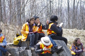 photo of undergraduate students in field