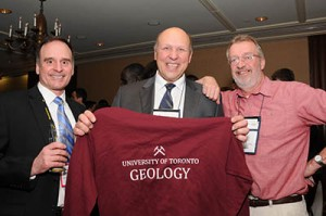 George Gorzynski with Russ Pysklywec and Dan Schulze receiving the last of the U of T Geology sweater - auctioned in fun to raise funds for field education at the 2014 Alumni Reception in Toronto.
