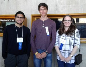 photo of Jamil Mahamud (Judge: 4th year undergraduate student), Benjamin Kurrek (winner), and Anna Phillips (Judge: Graduate student)
