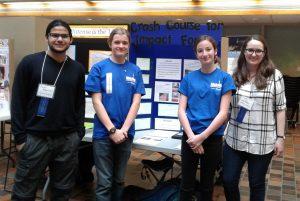 photo of Jamil Mahamud (Judge: 4th year undergraduate student), Samuel Abraham (winner), Sammie Rogers (winner),<br />  and Anna Phillips (Judge: Graduate student)